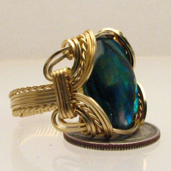 Handmade Artisan 14kt Gold Filled Wire Wrapped Green Paua Shell Ring