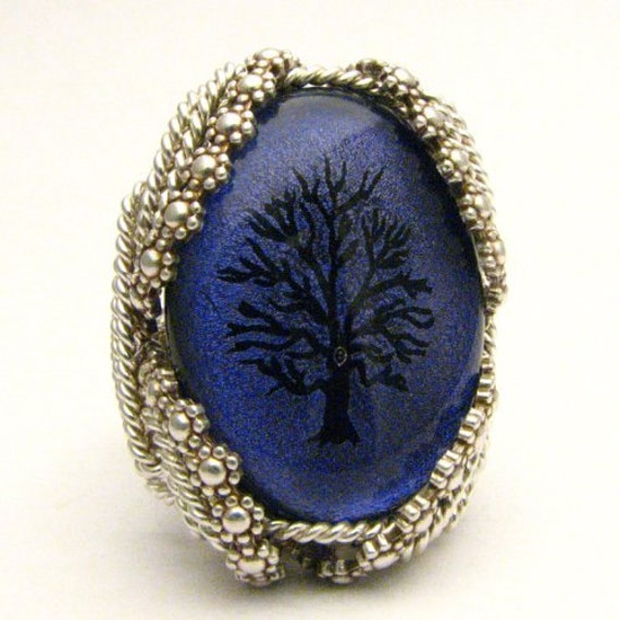 Handmade Sterling Silver Berry Wire Wrap Purple Tree Dichroic Glass Ring
