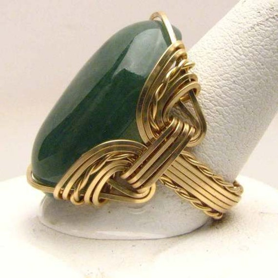 Handmade 14kt Gold Filled Wire Wrap Green Adventure Ring
