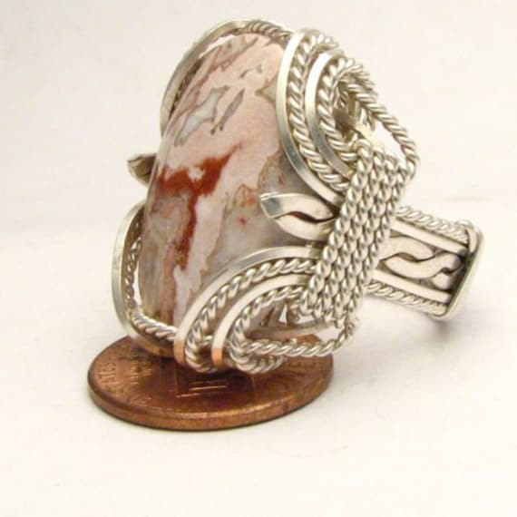 Handmade Sterling Silver Wire Wrap Picture Stone Agate Ring
