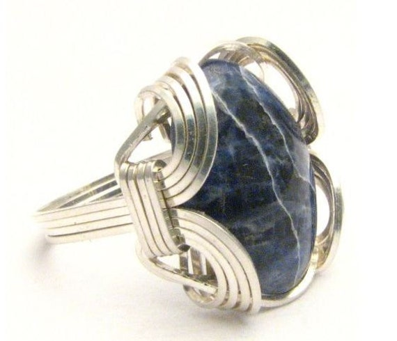 Oval Wire Wrap Blue Sodalite Silver Gemstone.  Custom Sized to fit you.