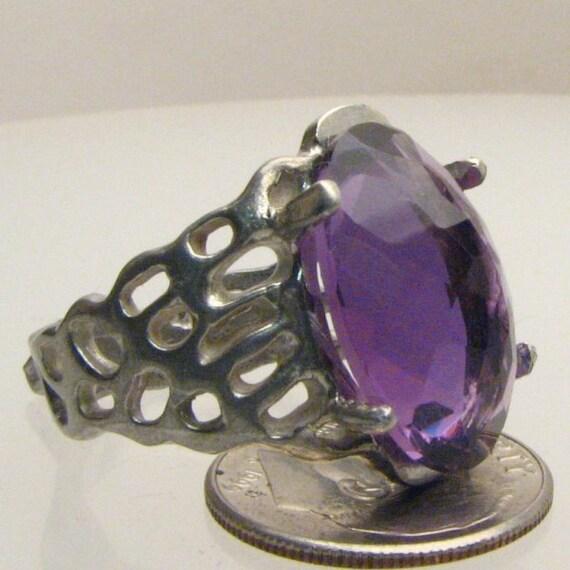Handmade Sterling Silver Amethyst Lava Ring