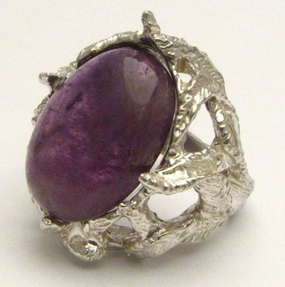 Handmade Claw Unique Designed Purple Amethyst Cab Solid Sterling Silver Cocktail Ring.  Custom Sized to fit you.