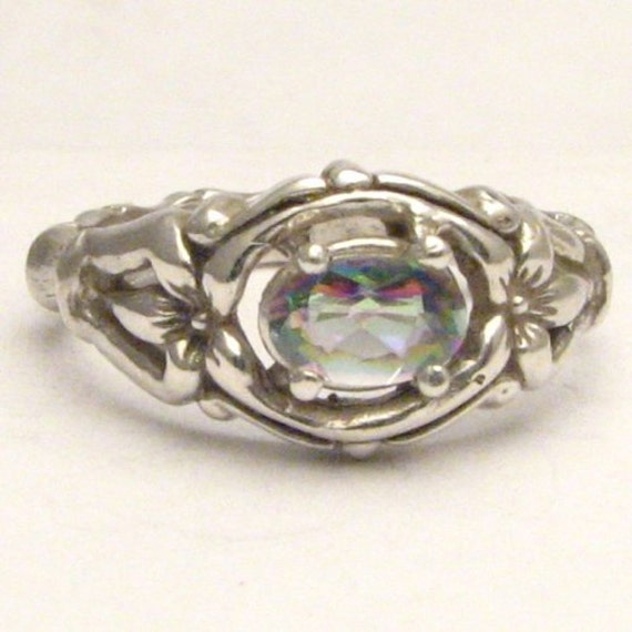 Handmade Sterling Silver Mystic Topaz Gemstone Bone Ring