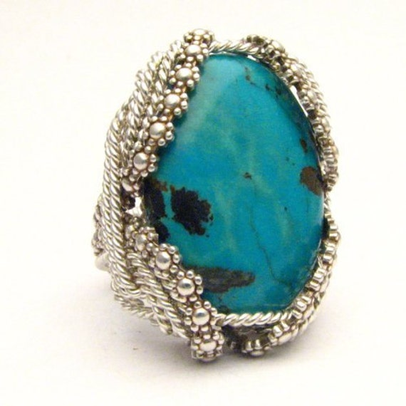 Wire Wrapped Turquoise Ring Handmade Sterling Silver and Berry Wire Wrapped Turquoise Ring Unique Berry Wire Ring