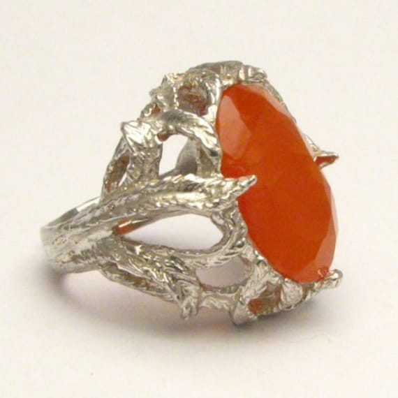 Handmade Sterling Silver Faceted Carnelian Cabochon Ring
