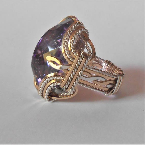 Amethyst Sterling Silver Ring Wire Wrapped Ring Sterling Silver Handmade Ring Genuine Faceted Amethyst Gemstone