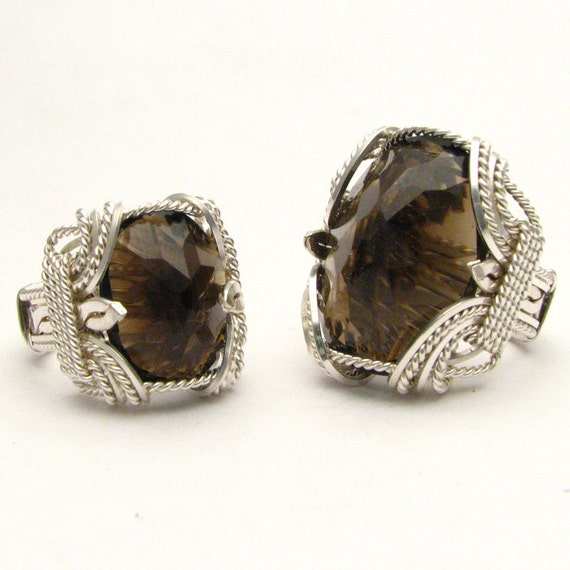 Wire Wrapped Smokey Quartz Sterling Silver Gemstone Ring Available in 25x18mm 1x3/4in 30ct. and 18x13mm 3/x1/2in.10ct
