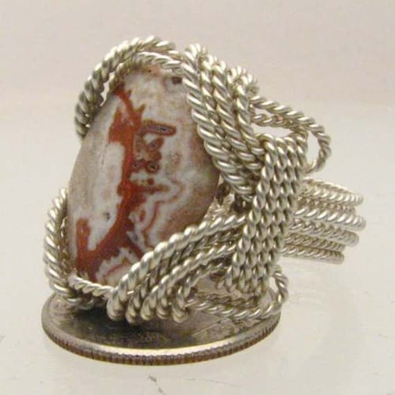 Handmade Sterling Silver Wire Wrap Rosetta Picture Stone Ring