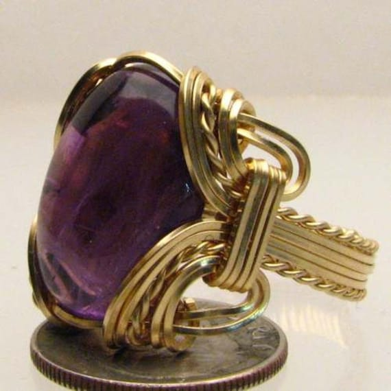 Handmade 14kt Gold Filled Wire Wrap Amethyst Cab Ring