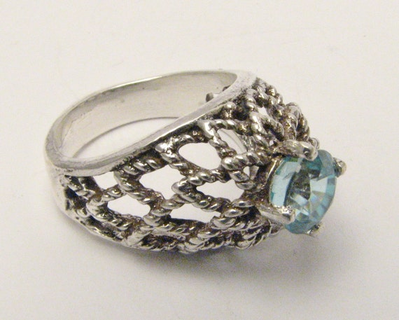 Game of Thrones Inspired Vintage Handcrafted Victorian Sterling Silver Blue Glacier Ice Zircon Gemstone Ring Decembers Birthstone