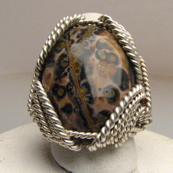 Wire Wrap Leopard Skin Agate Silver Ring