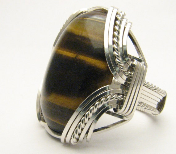 Vintage Handcrafted Victorian Handmade Solid Sterling Silver Wire Wrap Tiger Eye Ring