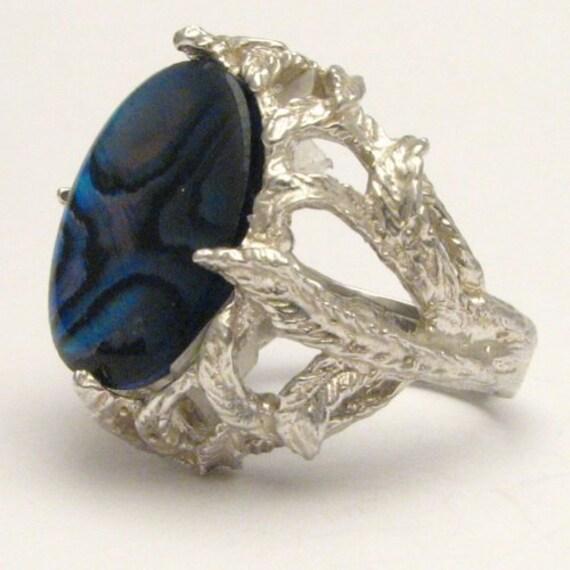 Handmade Sterling Silver Blue Paua Shell Gemstone Ring