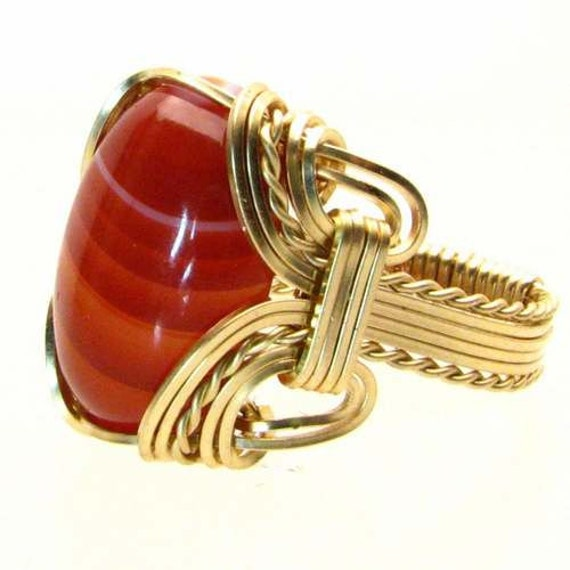 Handmade 14kt Gold Filled Wire Wrap Red/White Sardonyx Cabochon Ring