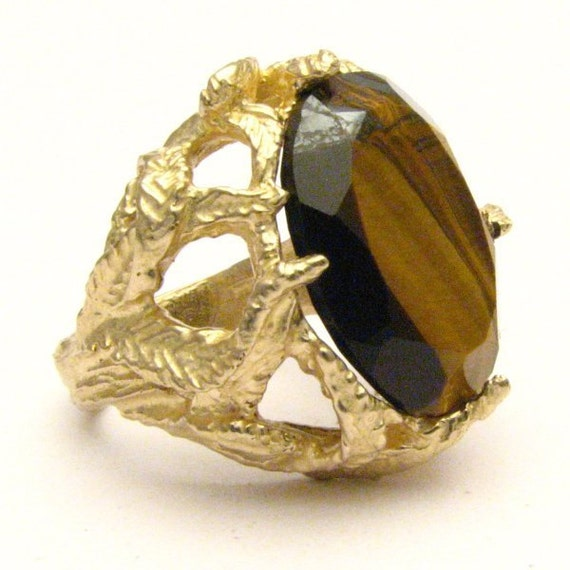 Handmade 14kt Gold Faceted Tiger Eye Claw Gemstone Ring Statement Ring