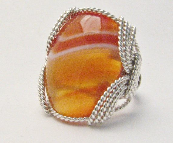 Wire Wrapped Ring / Handmade Ring / Wire Wrap ring Red / White Sardonyx Cabochon Gemstone Sterling Silver Sterling Silver  Statement Ring