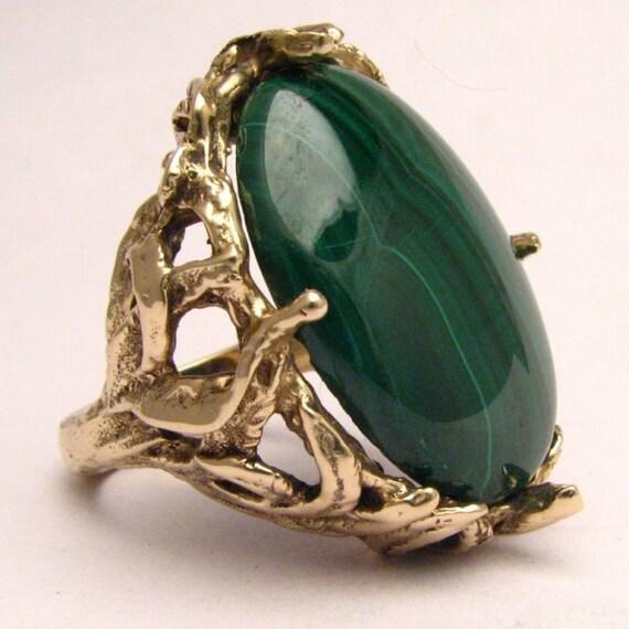 Handmade 14kt Gold Malachite Massive Claw Ring
