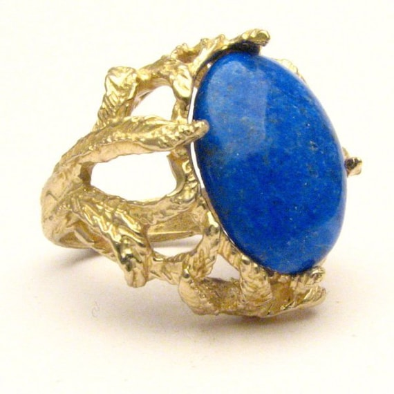 Handmade 14kt Gold Blue Lapis Claw Cabochon Ring