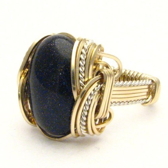 Handmade Wire Wrap Two Tone Sterling Silver/14kt Gold Filled Goldstone Ring