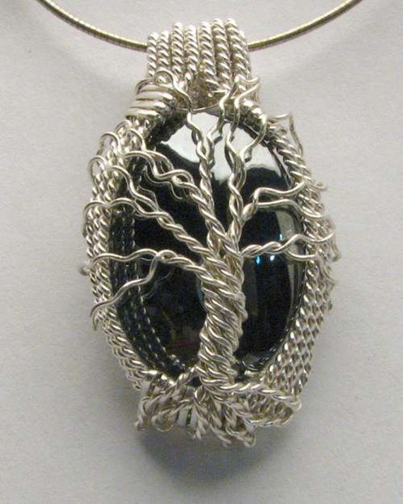 Tree of Life Handmade Solid Sterling Silver Wire Wrapped Hematite Cabochon Pendant