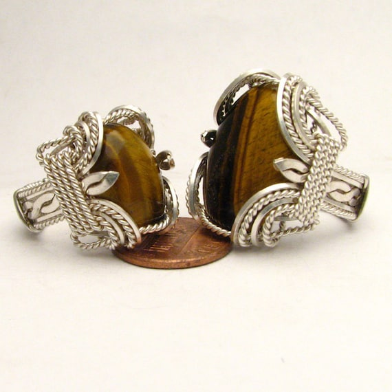 Handmade Wire Wrapped Tiger Eye Sterling Silver Ring. Custom Personalized Sizing to fit you.