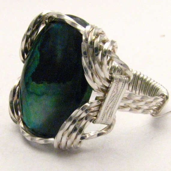 Handmade Sterling Silver Wire Wrap Green Paua Shell Ring