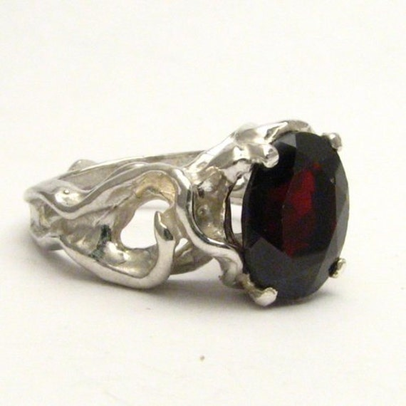 Handmade Sterling Silver Gothic Dark Red Garnet Gemstone Ring