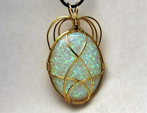 Wire Wrapped Opal Pendant 14kt Yellow Gold Filled Unique Handmade Synthetic Opal Gemstone Cabochon Pendant October Birthstone