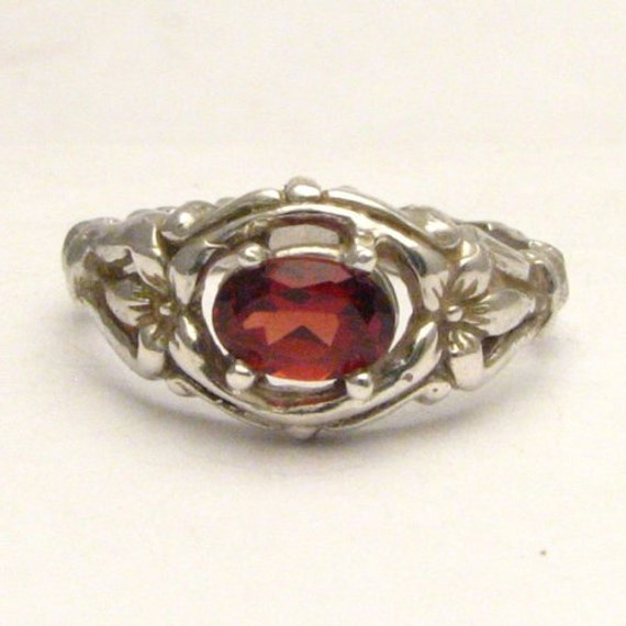 Handmade Solid Sterling Silver Red Garnet Bone Ring