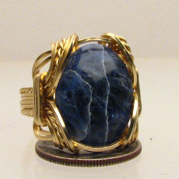 Wire Wrapped Handmade 14kt Gold Filled Wire Wrapped Blue Sodalite Ring