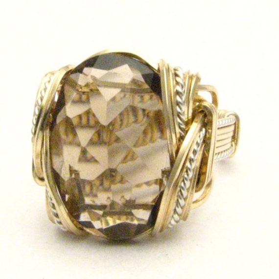 Handmade Wire Wrap Two Tone Sterling Silver/14kt Gold Filled Smoky Quartz Ring
