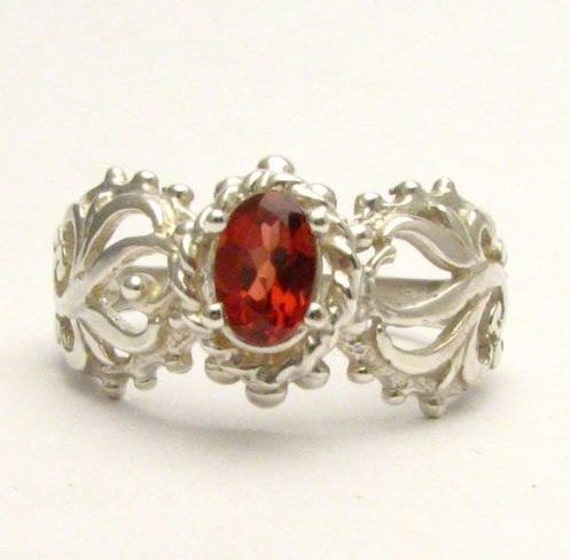 Red Garnet Filigree Swirled Design Solid Sterling Silver.  Custom Sized to fit you.