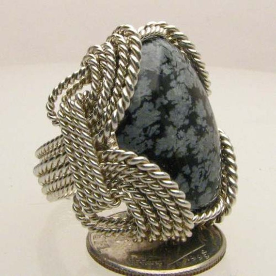 Wire Wrapped Handmade Solid Sterling Silver Wire Wrap Snowflake Agate Cabochon Ring