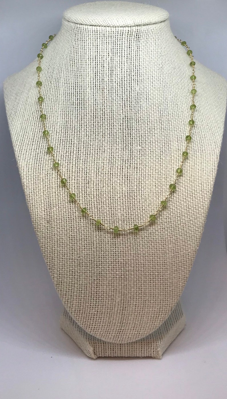 Handcrafted Peridot Beaded Chain Necklace image 0