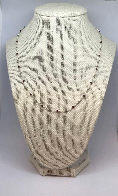 Labradorite and Rhodolite Garnet Beaded Necklace image 0