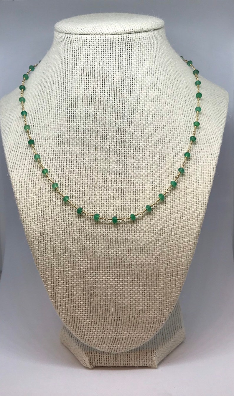 Handcrafted Green Onyx Necklace and Bracelet image 0