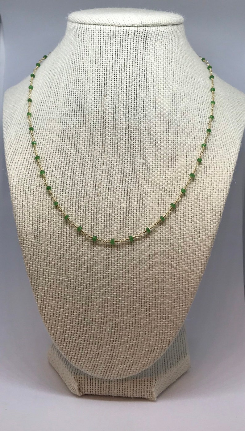 Wire Wrapped Tsavorite Garnet Beaded Necklace image 0
