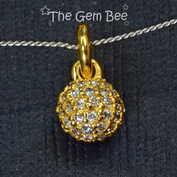18k Solid White Gold Cute Ball Diamond Cut Charm// Pendant.