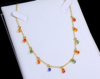 "14K Yellow Gold Multi Color Sapphire Briolette Bead Necklace 16""-17"" adjustable"