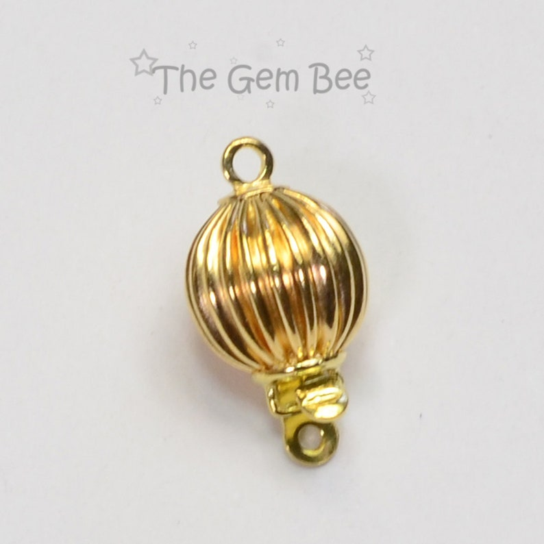 8 2mm 18k Solid Yellow Gold Fluted Sphere Clasp With Closed Jump Ring