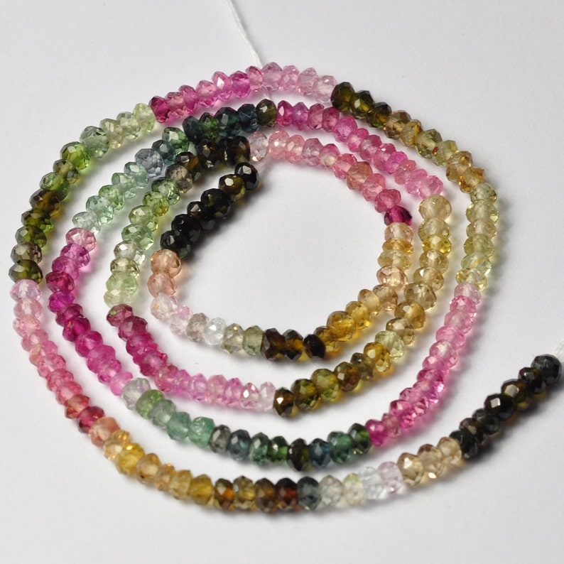 13 Inch Strand jewelry making, Faceted Rondells Beads 1 Strands Natural Pink Tourmaline Faceted 3mm Beads Tourmaline Gemstone beads