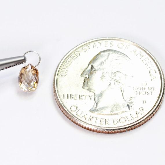 0,95 CT 18 massif K or blanc massif 18 diamant Champagne à facettes en forme de larme Briolette charme f21b3b