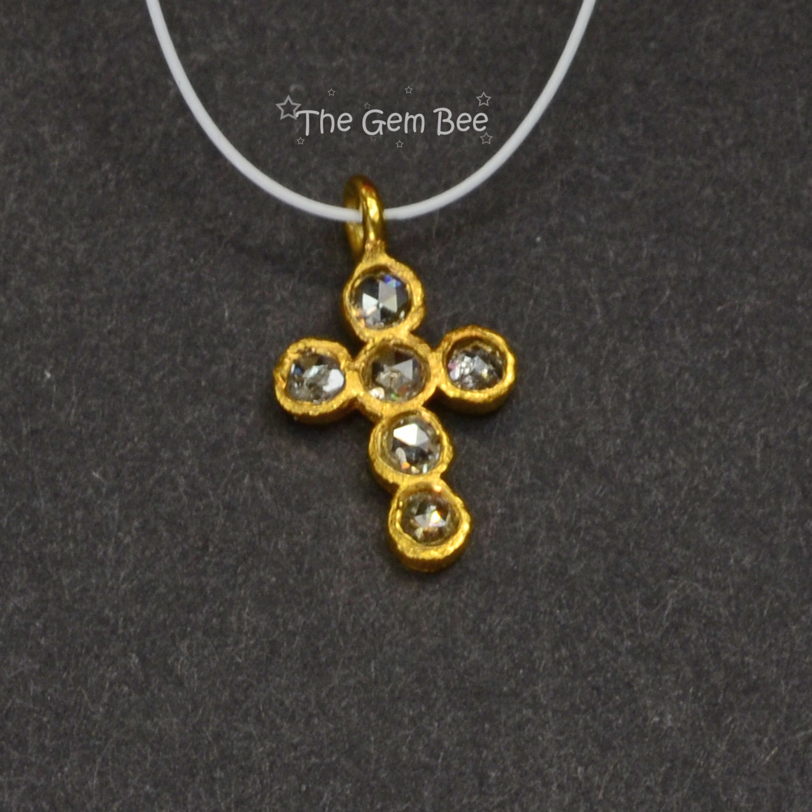 6.7x11.6mm 18k solide solide solide jaune or Rose diamant Champagne Croix pendentif Charm 21f3b5