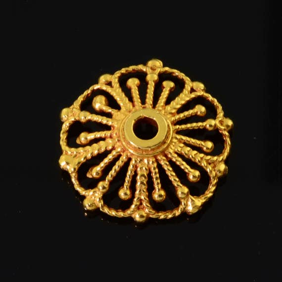 9mm 18k Solid Yellow Gold Fancy Floral Bead Cap Finding PAIR