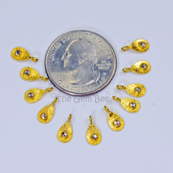 10 2mmx4mm 18k Solid Yellow Gold Handmade Petite Ball Charms