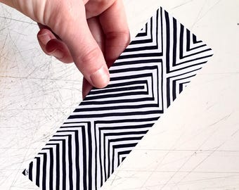 One of a Kind Bookmark, Hand Drawn Geometric Art, Optical Illusion, Black and White, Bookworm Gift, Color Your Own