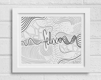 Felix - Abstract Desktop Wallpaper, Digital Download, Print at Home, Custom Graffiti Art, Coloring Page, Names Project