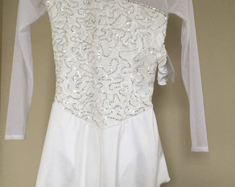 White Lace Long Sleeve Competition Ice Roller Dance Skating Dress