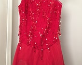 Red Lace One Shoulder Competition Skating Dress Sizes AXS